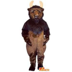 Brown suit and black buffalo. Costume buffalo