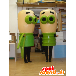 2 mascottes van beige en groene lampen. 2 bollen - MASFR032020 - mascottes Bulb