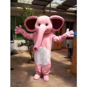 Mascotte d'éléphant rose, mignon et coloré