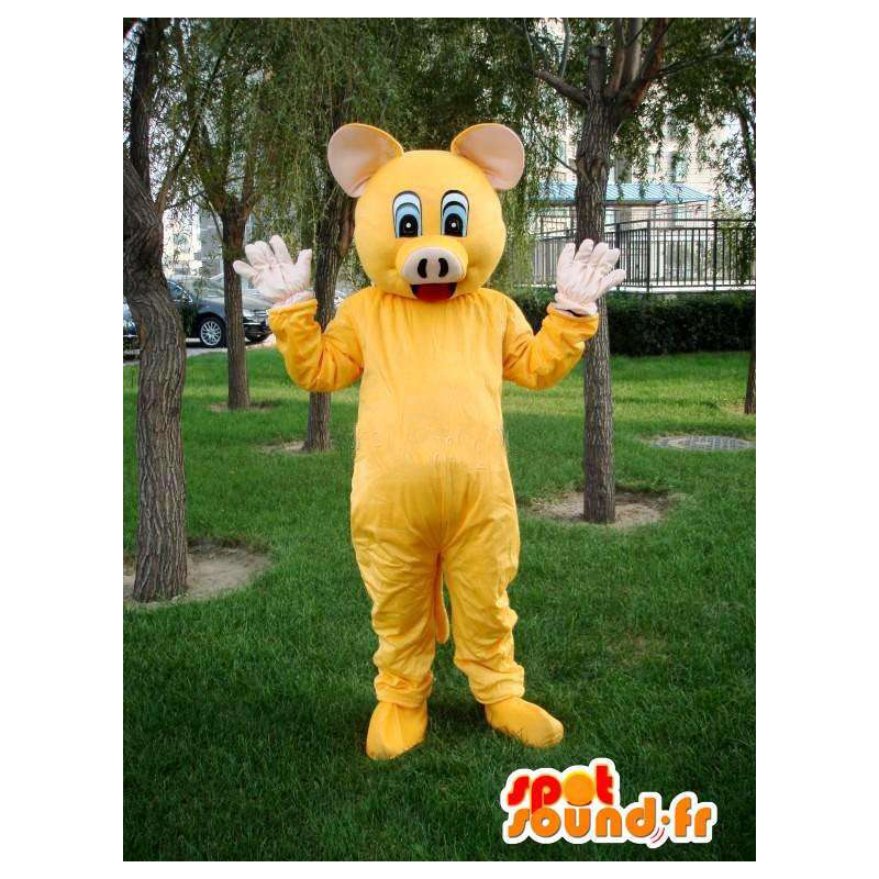Maskot Pig žlutá - speciální slavnostní kroj řezník - Podpora - MASFR00578 - prase Maskoti