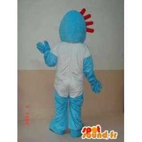 Kivinen sininen lumiukko maskotti yksinkertainen valkoinen paita - MASFR00642 - Mascottes Homme