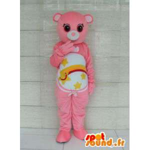Mascotte ours rose avec rayures et étoile filante. Personnalisable