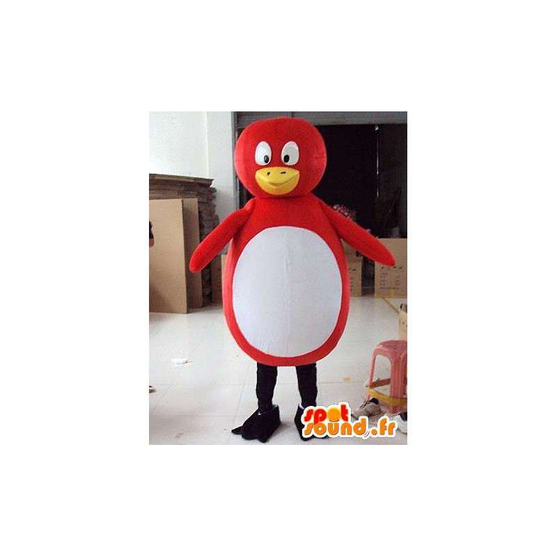 Mascotte de pingouin rouge et blanc style canard/oiseau - MASFR00731 - Mascotte d'oiseaux