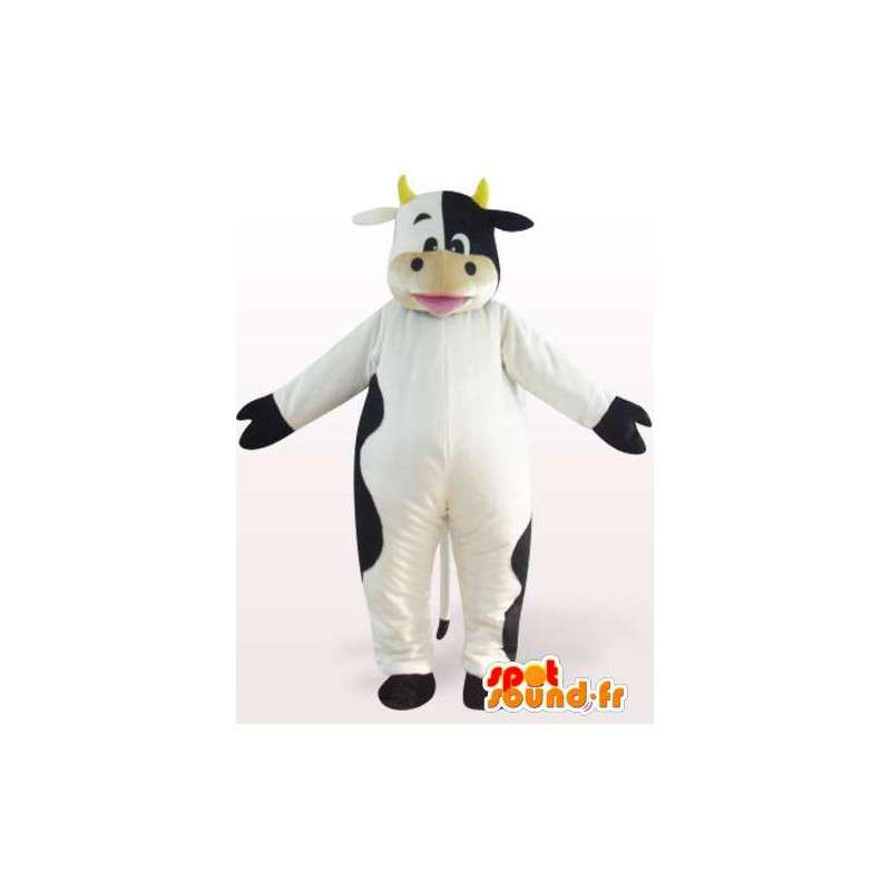 Mascotte della mucca in bianco e nero con le corna - MASFR00850 - Mucca mascotte