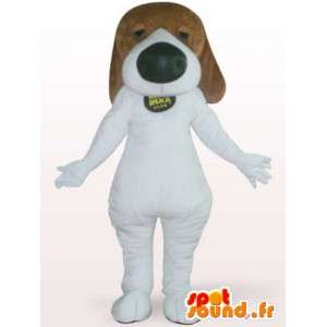 Mascot dog with big nose - white dog costume