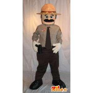 Mascotte poliziotto americano con la pistola e il cappello