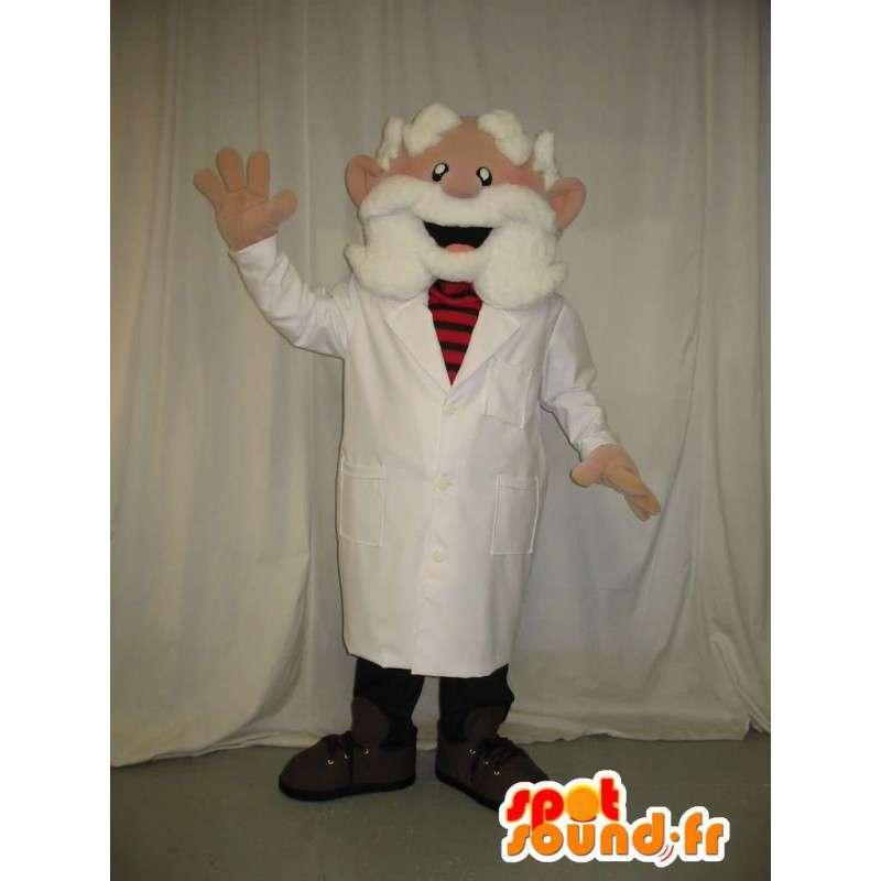 Maskot starý lékař na sobě bílý vous - MASFR001584 - Man Maskoti