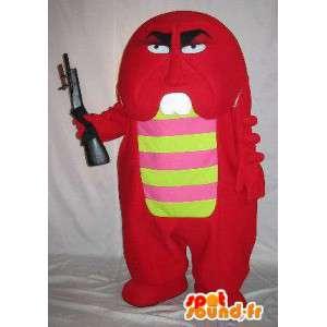 Mascot pequeño monstruo rojo armado, traje monstruo