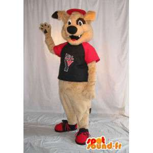 Béžové psí maskot plyšový kostým