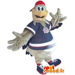 Mascot representando un gris traje Coq Sportif adolescente - MASFR002005 - Mascota de gallinas pollo gallo