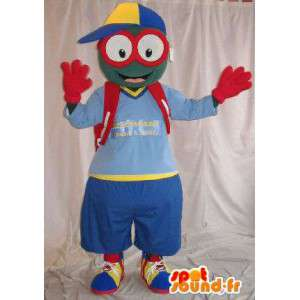 Mascot kleine man met een bril, schooljongen vermomming