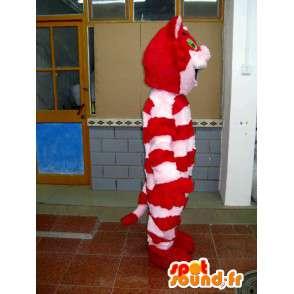Mascotte en peluche de chat rayé rouge et rose en coton doux - MASFR00712 - Mascottes de chat