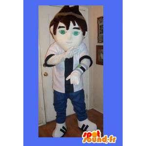 Maskot představující mladý muž v módním stylu
