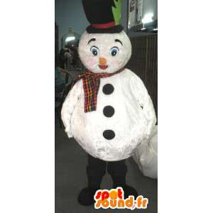 Mascot muñeco de nieve blanco con el sombrero y la bufanda