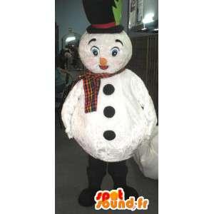 Valkoinen lumiukko maskotti hattu ja huivi