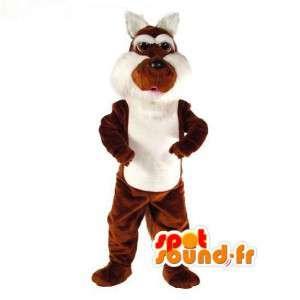 Mascotte de lapin marron et blanc - Costume de lapin en peluche