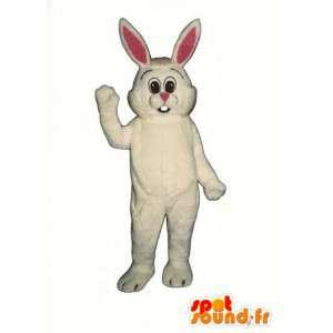 Mascotte de lapin blanc et rose à grandes oreilles