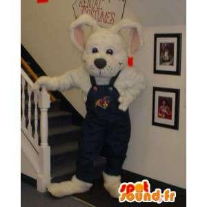 Mascotte de lapin blanc en salopette - Costume de lapin