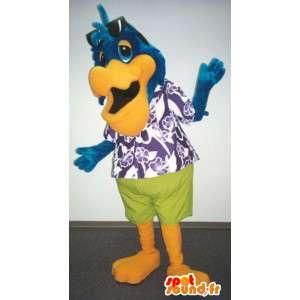 Mascotte d'oiseau bleu vacancier - Costume de vacancier