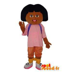 Tyttö ruskea pehmo maskotti - Puku merkki