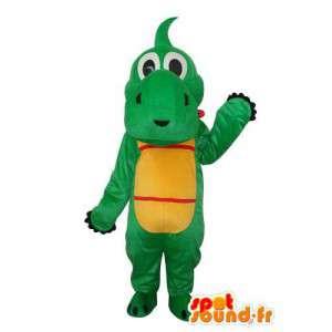 Maskot červená žlutá zelená hrocha - Hippo Kostým
