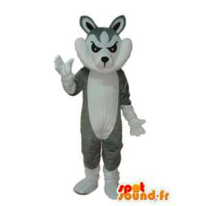 Mascotte de chat gris et blanc – déguisement de chat