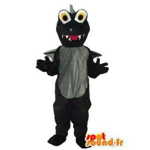 Mascotte de dragon noir et gris – costume de dragon en peluche