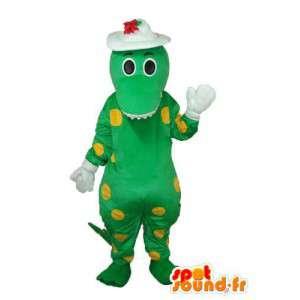 Zelený drak maskot žlutý hrách - zelený drak kostým