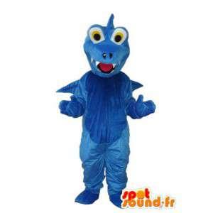 Mascotte de dragon bleu uni – costume de dragon en peluche