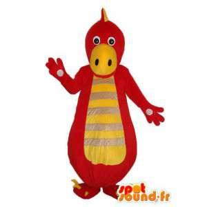 Mascotte de dragon rouge jaune et beige – costume de dragon