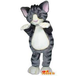 Mascotte de chaton gris. Costume de chaton