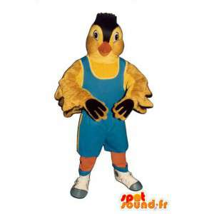 Yellow bird mascot. Canary costume