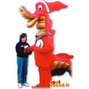 Mascotte de dragon/dinosaure orange géant. Costume de dragon