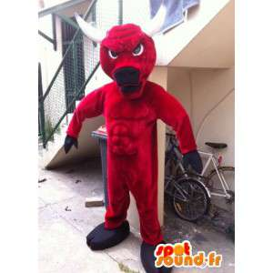 Mascot bull red and black, with white horns