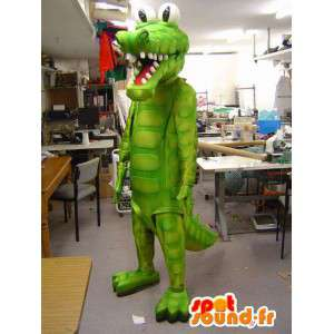 Mascotte de crocodile vert. Costume de crocodile