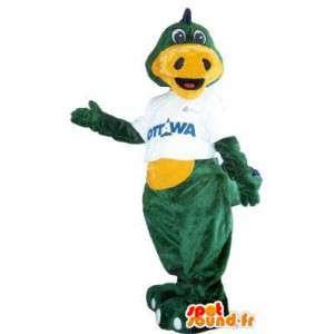 Mascotte dragon vert marque Ottawa déguisement pour adulte