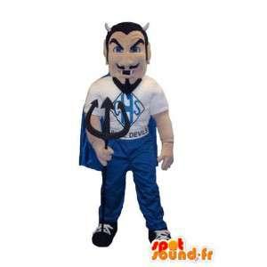 Mascot traje de diablo con barba de negro y ropa