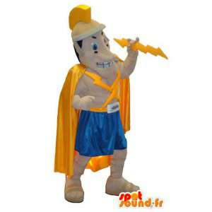 Gladiator mascot character Zeus with lightning suit