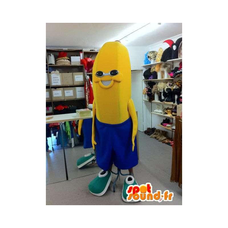 Mascotte de banane en short bleu - MASFR005516 - Mascotte de fruits