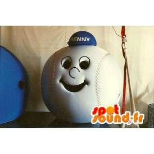 Tête en forme de balle de baseball avec une casquette bleue