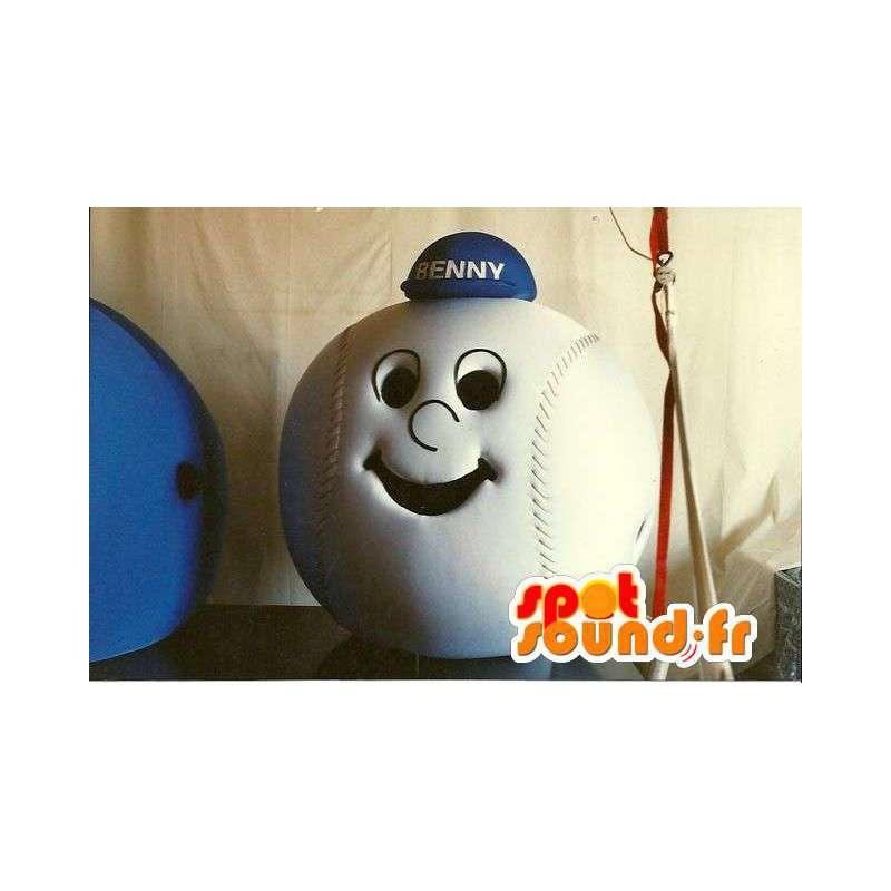 Baseball-formet hode med en blå lue - MASFR005521 - Heads maskoter