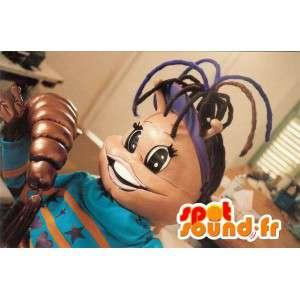 Mascot sort pige i blå sweater. Sort pige kostume - Spotsound