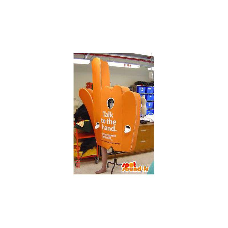Mascotte en forme de main orange. Costume de supporter - MASFR005529 - Mascotte sportives