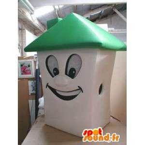Mascotte en forme de maison blanche et verte. Costume de maison
