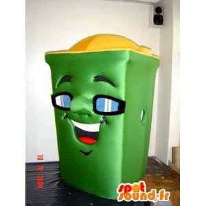 Maskot grønn bin. trash Costume