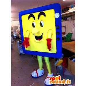 Formet maskot gul og blå TV - MASFR005549 - Maskoter gjenstander