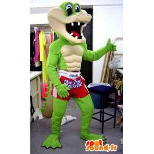 Mascotte de crocodile en short de boxeur. Costume de crocodile