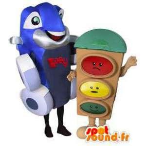 Mascot Auto und Ampel.Packung mit 2 - MASFR005561 - Maskottchen von Objekten