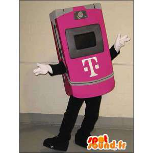 Mascot pink mobile phone. Costume mobile