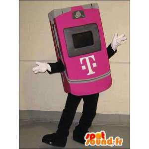 Roze mobiele telefoon mascotte. laptop Suit